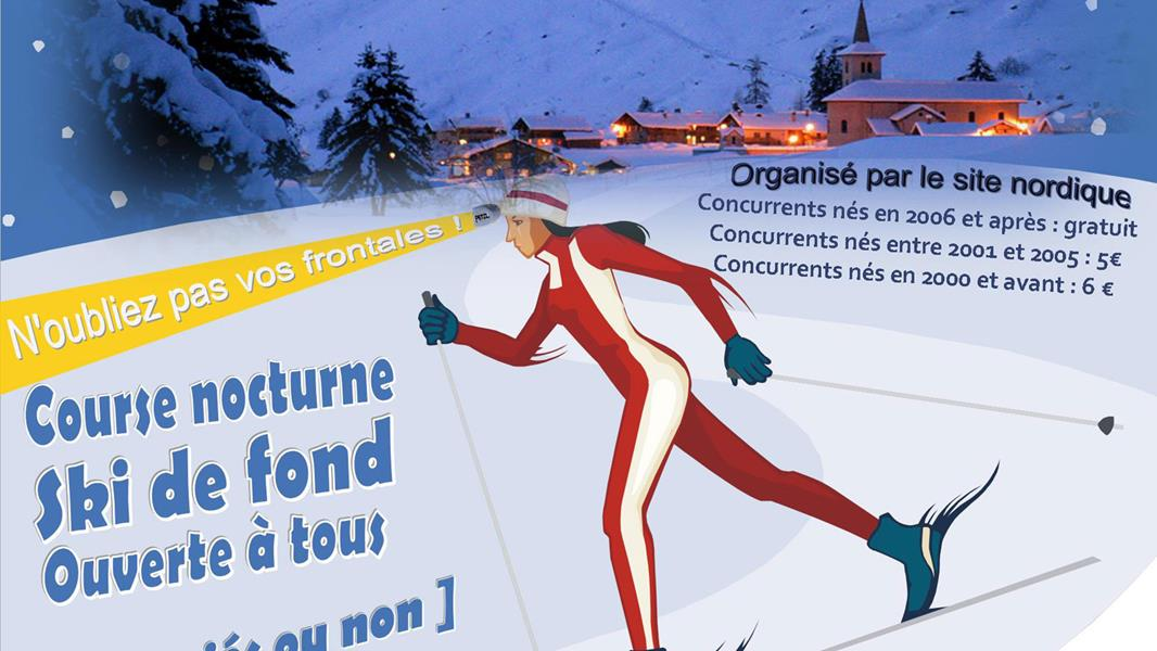 Cross country skiing race by night